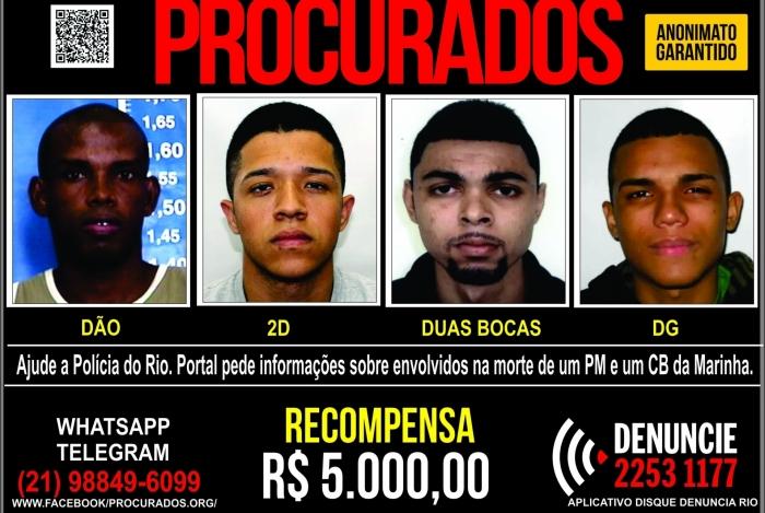 Envolvidos na morte de PM e cabo da Marinha na Pedra do Sal são procurados com recompensa de R$ 5 mil