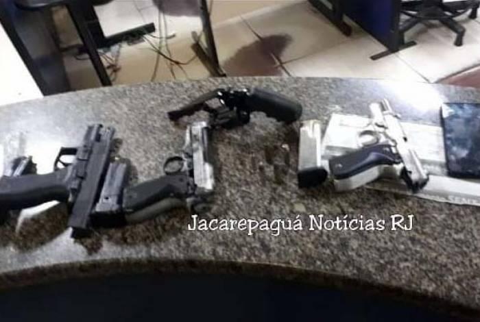 Armas apreendidas na ação