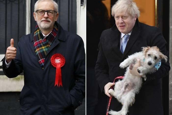 Candidato do Partido Trabalhista, Jeremy Corbyn, e candidato conservador, Boris Johnson