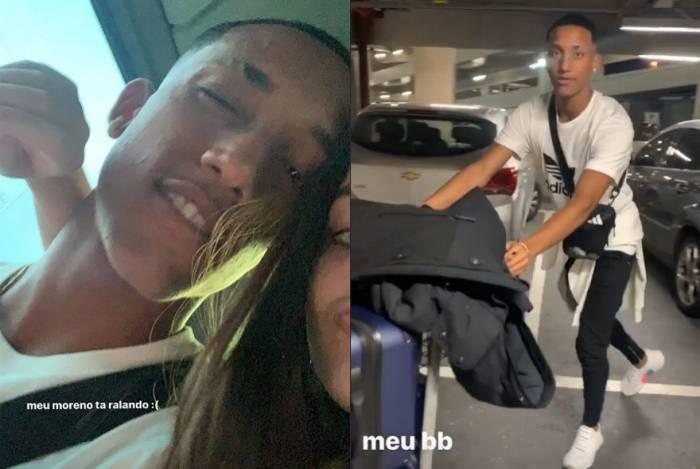 Mel Maia se despede de João Pedro no aeroporto