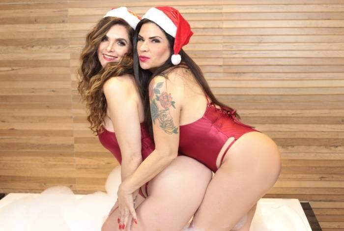 Luiza Ambiel e Solange Gomes em ensaio de Natal