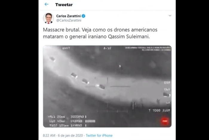 Deputado publicou vídeo de game em sua conta do Twitter
