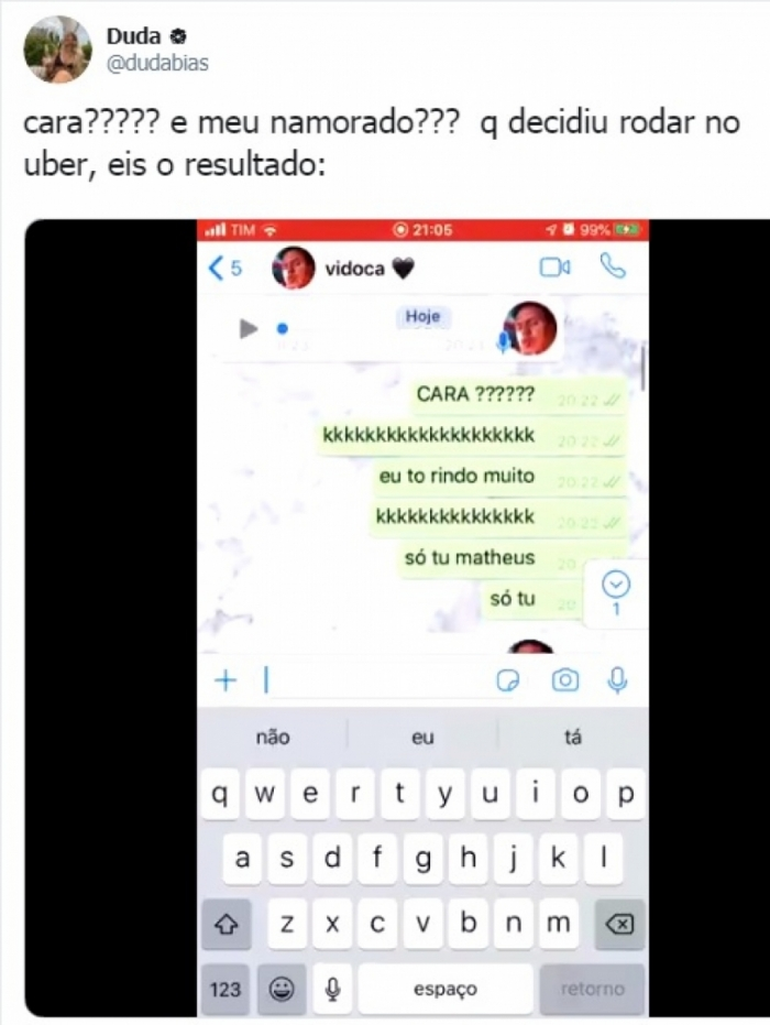 Diálogo entre motorista de Uber e namorada viraliza no Twitter