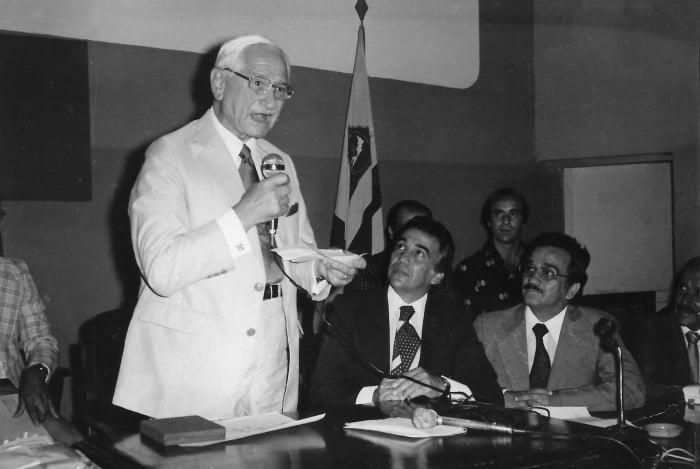 Albert Sabin em visita à AMF para campanha vacinal contra a poliomielite