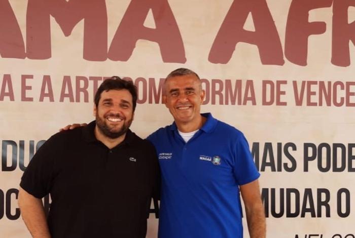Secretário de Cultura, Thales Coutinho, e o secretário de Educação, Guto Garcia, firmam nova parceria