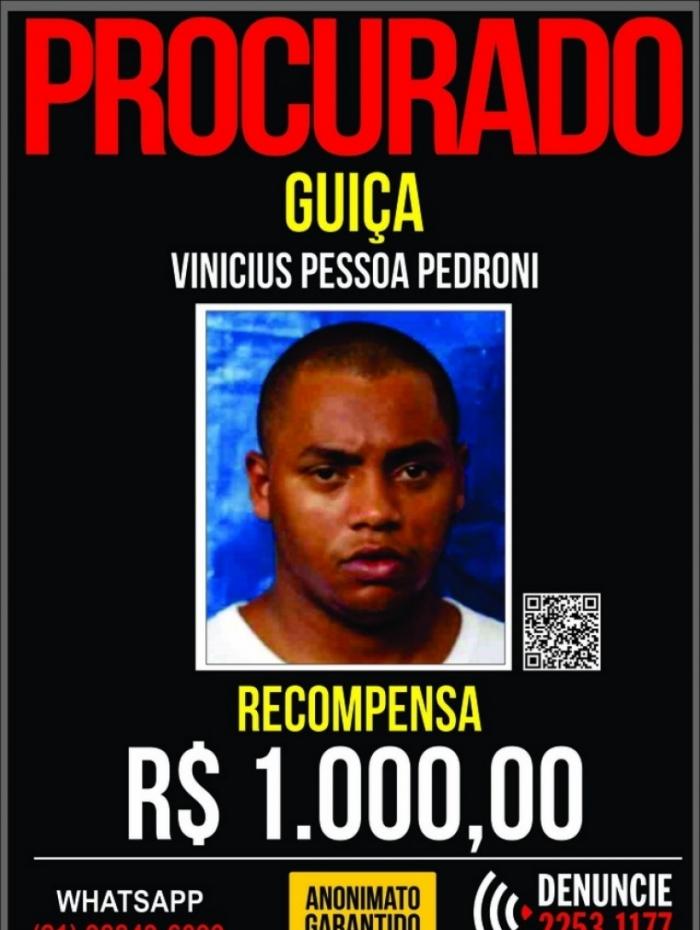 A recompensa para quem der informações sobre o traficante, é de R$1 mil