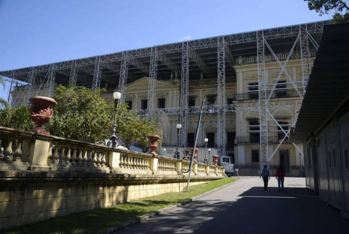 Museu Nacional da UFRJ, na Quinta da Boa Vista, um ano após o incêndio.