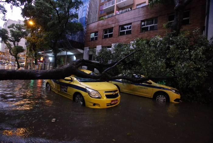 30 01 2020 - Temporal atinge a regiao Central do Rio. A chuva forte derrubou uma arvore em cima de dois taxi na Av. Men de Sa . Foto: Daniel Castelo Branco / Agencia O DIA