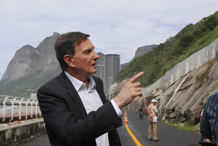Rio de Janeiro - RJ  - 31/01/2020 - Prefeito Marcelo Crivella fala sobre as obras na Avenida Niemeyer, na manha de hoje - Foto Reginaldo Pimenta / Agencia O Dia