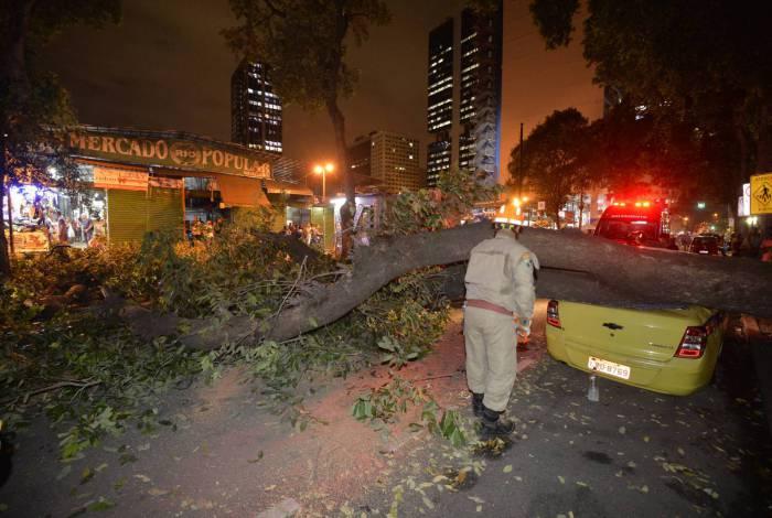 14/02/2020 - Queda de arvore sobre um taxi na rua Uruguaiana altura do mercado polular , na região central do Rio  - Foto:Fabio Costa/Agencia O Dia