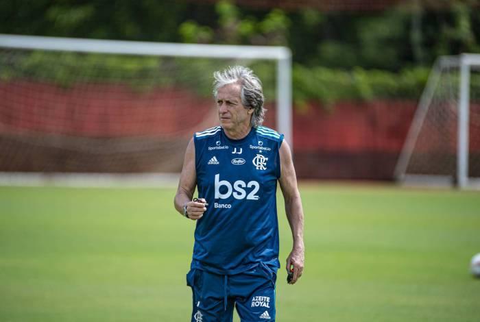 O técnico Jorge Jesus no treino do Flamengo