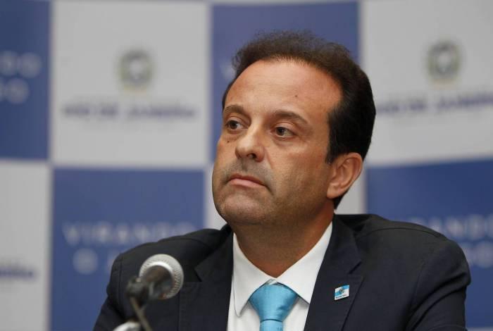 Secretário estadual da Casa Civil e Governança, André Moura, durante coletiva a imprensa