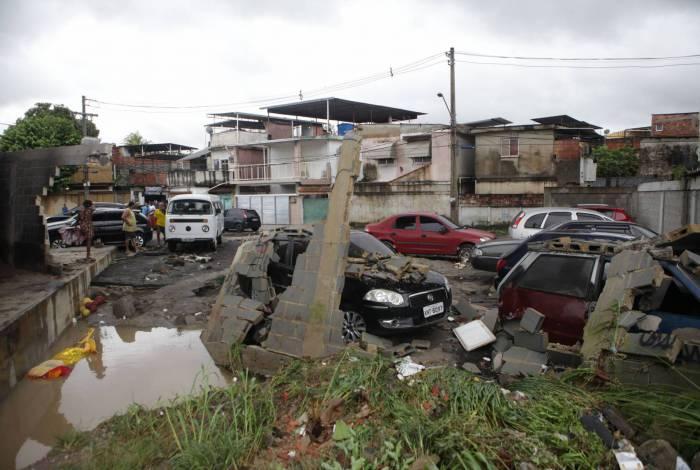 Estragos do temporal em Deodoro, na Zona Oeste do Rio