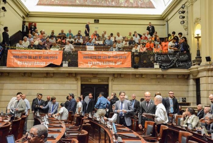 Funcionários da Comlurb acompanharam sessão na Câmara dos Vereadores