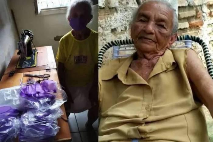 Bernarda Alves da Costa, de 87 anos, costurou cerca de 20 máscaras em um dia
