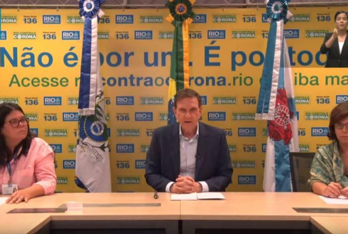 O prefeito Marcelo Crivella durante coletiva online na manhã desta quarta-feira