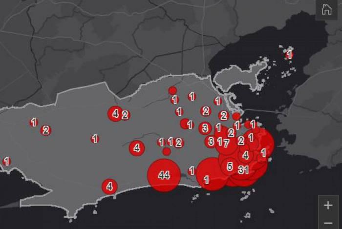 Mapa aponta casos de coronavírus na capital do Rio