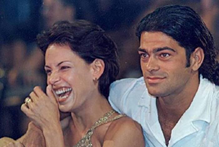 Carolina Ferraz como Milena e Eduardo Moscovis como Nando em cena da novela 'Por Amor', de 1997