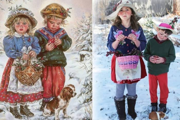 Os membros do grupo publicam fotos em que recriam obras de arte, em especial quadros