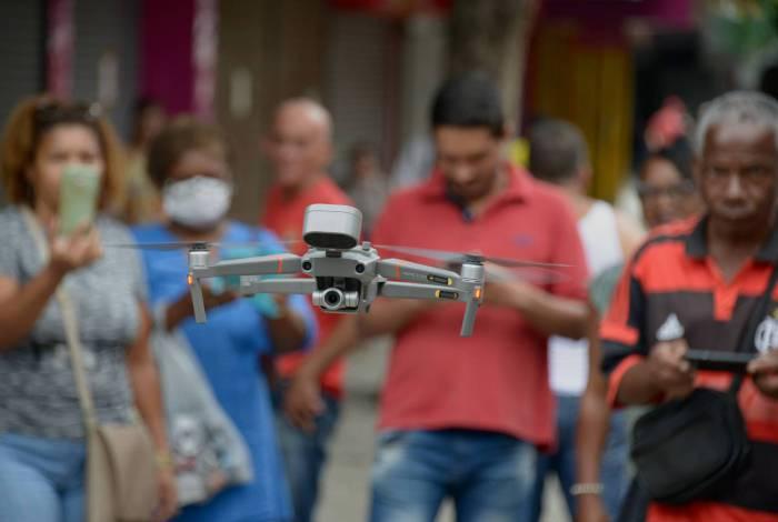 Drone falante da Seop durante sobrevoo em Campo Grande
