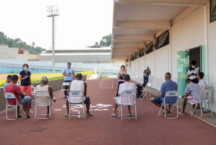 Abrigo foi montado na Arena Esportiva para proteger pessoas em vulnerabilidade social contra o Novo Coronavírus
