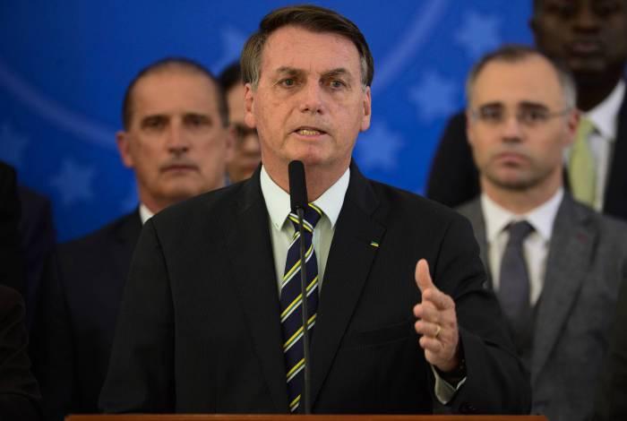 O presidente da República, Jair Bolsonaro, faz pronunciamento no Palácio do Planalto