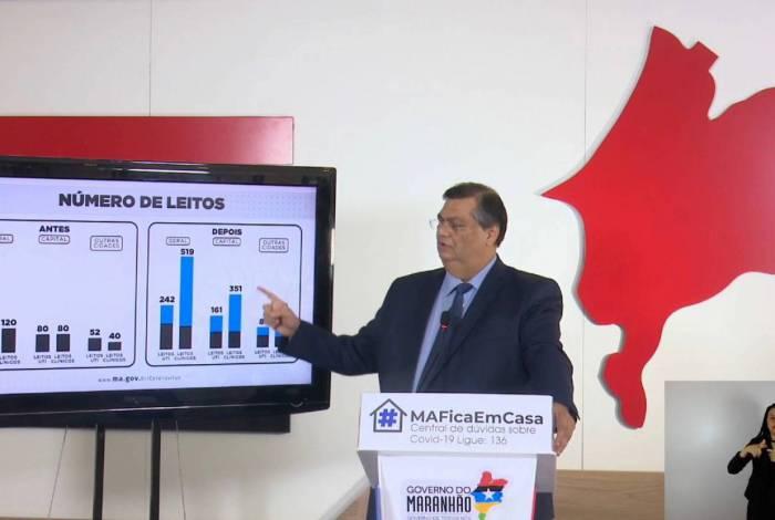Governador do Maranhão, Flávio Dino, mostra gráfico da Covid-19