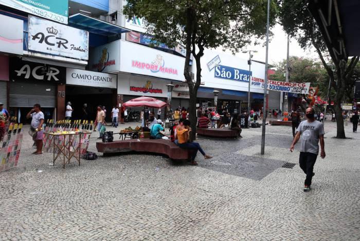 Comércio no calçadão de Campo Grande