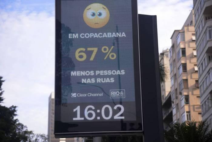 Relógios digitais informam quantidade de pessoas circulando nos bairros do Rio de Janeiro