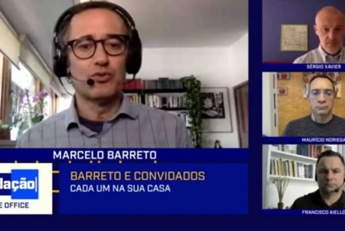 Cachorra de Maurício Noriega interrompeu o Redação SporTV desta quinta-feira