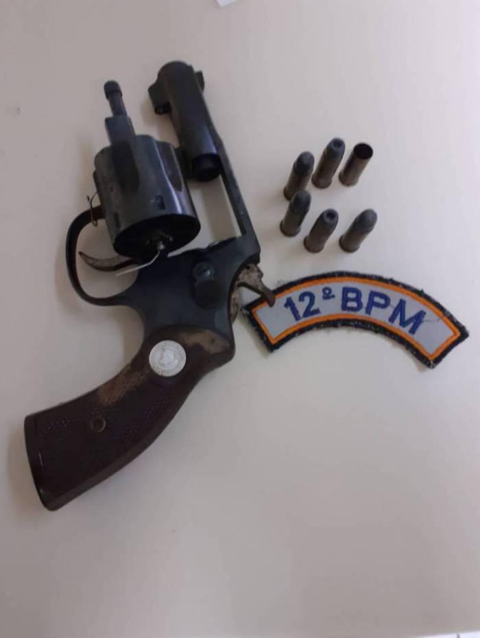 Arma apreendida pela PM na ação