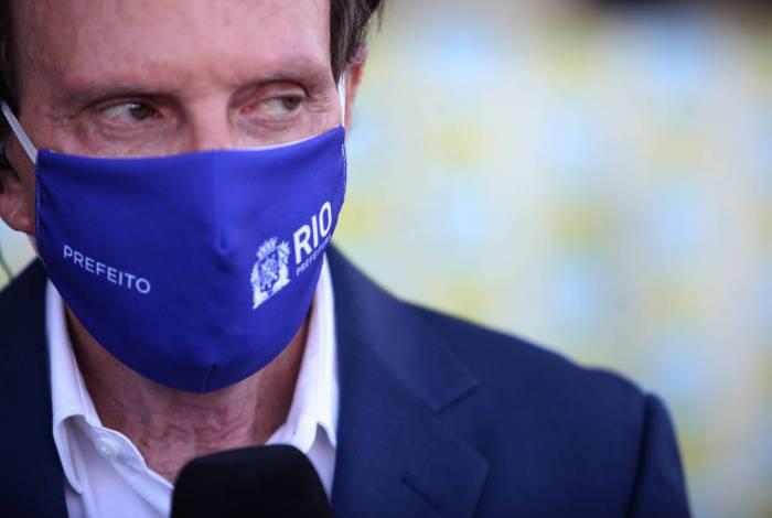 O prefeito Marcelo Crivella detalhou o plano de reabertura, ontem, em entrevista  no Riocentro