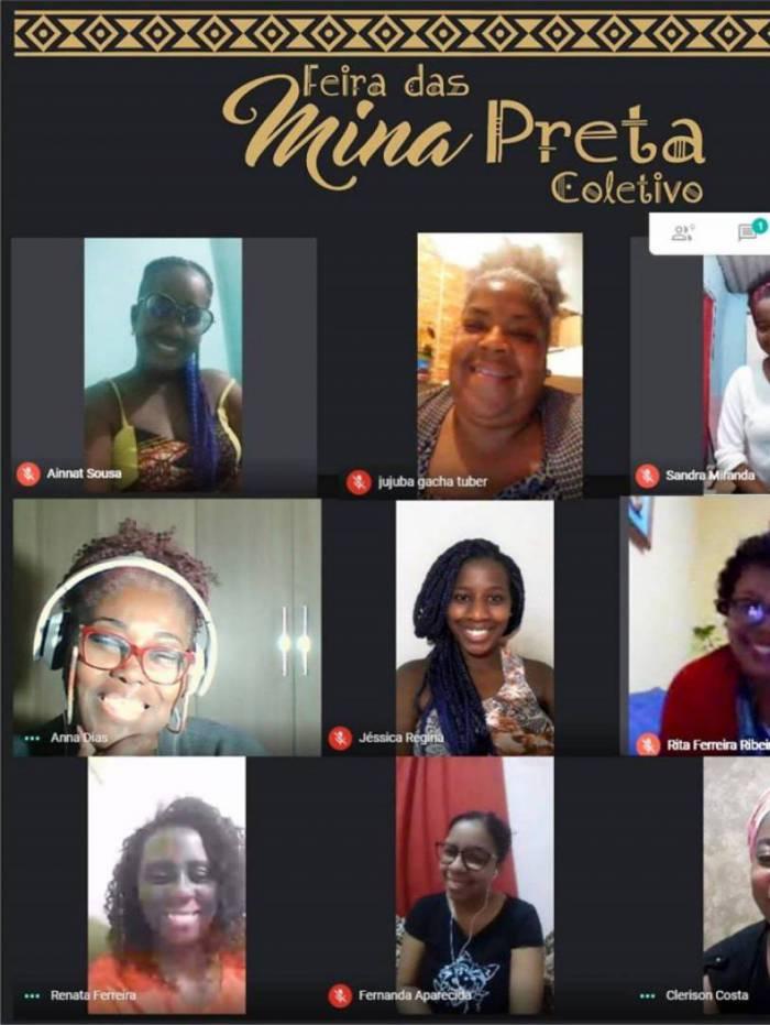 Mulheres afro empreendedoras se reuniram via plataforma digital para acertar os detalhes do aniversário de 5 anos da 'Feira das Mina Preta