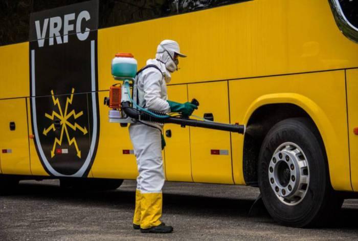 Ônibus do Voltaço também recebeu sanitização