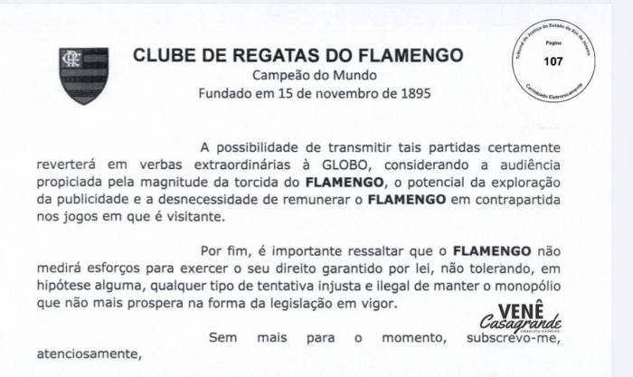 Flamengo envia contranoticação à Rede Globo