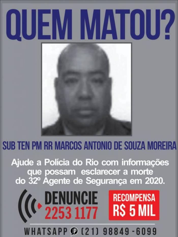 Cartaz pede informações sobre morte de Marcos Antonio de Souza Moreira, de 60 anos