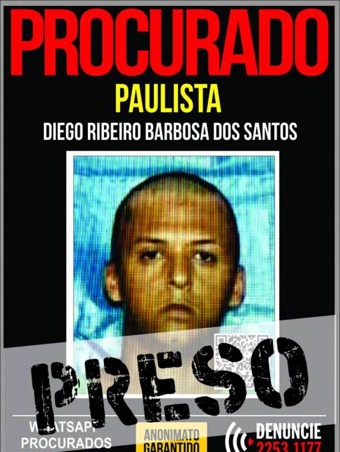 Diego foi preso nesta segunda-feira no bairro Antonina, em São Gonçalo, na Região Metropolitana do Rio