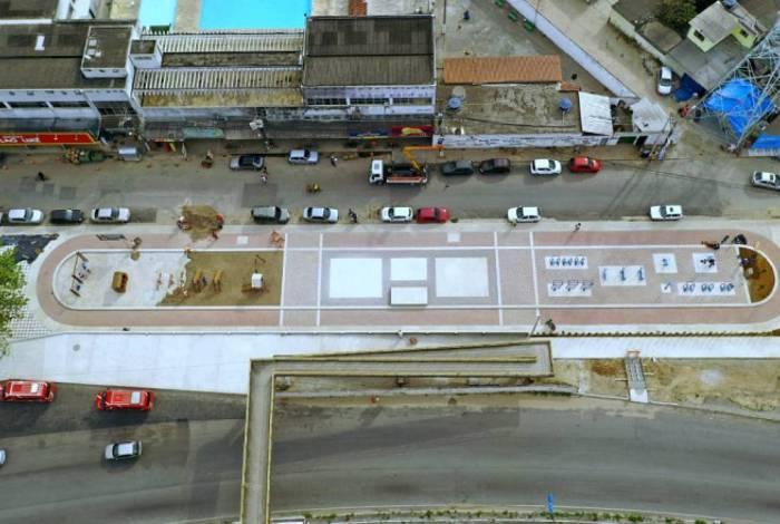 Vista aérea do Circuito Esportivo do Jardim Catarina: entorno do equipamento terá pista de caminhada
