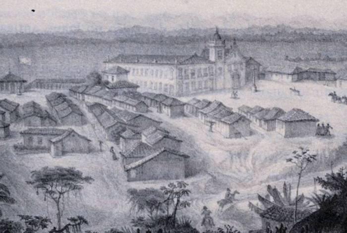 Vista do Castelo Imperial de Santa Cruz, do livro 'Viagem pitoresca e histórica ao Brasil', publicado em 1839 por Jean-Baptista Debret