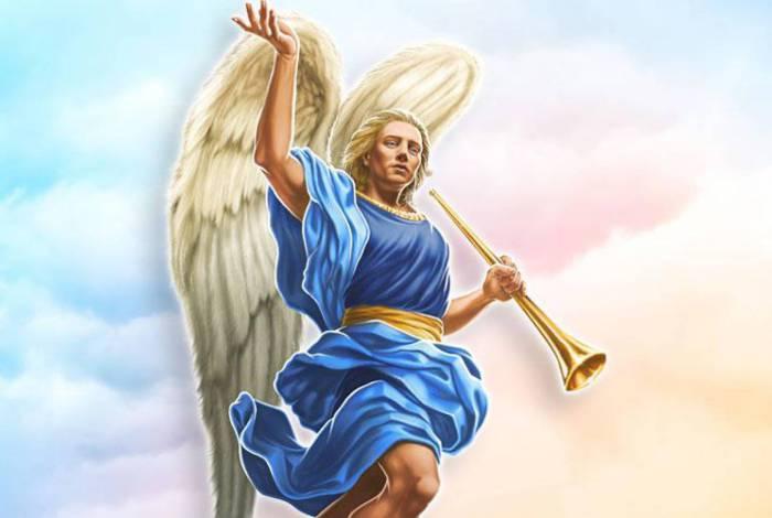 São Gabriel Arcanjo é sempre representado com uma trombeta, instrumento utilizado para a anunciação do nascimento de Jesus