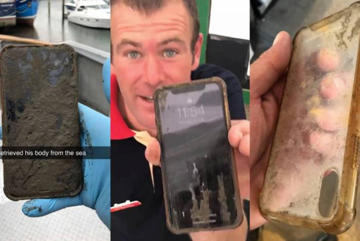 iPhone X coberto de lama