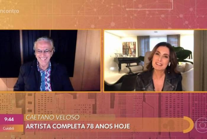 Caetano conversa com Fátima Bernardes no 'Encontro'