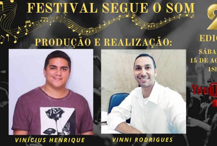 Banner de divulgação do Festival Segue o Som destaca os organizadores do evento: Vinícius Henrique, músico e poeta de Nova Iguaçu, e Vinni Rodrigues, produtor de Nilópolis