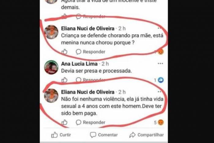 Eliana Nuci de Oliveira fez declarações alegando que menina estuprada era 'bem paga'