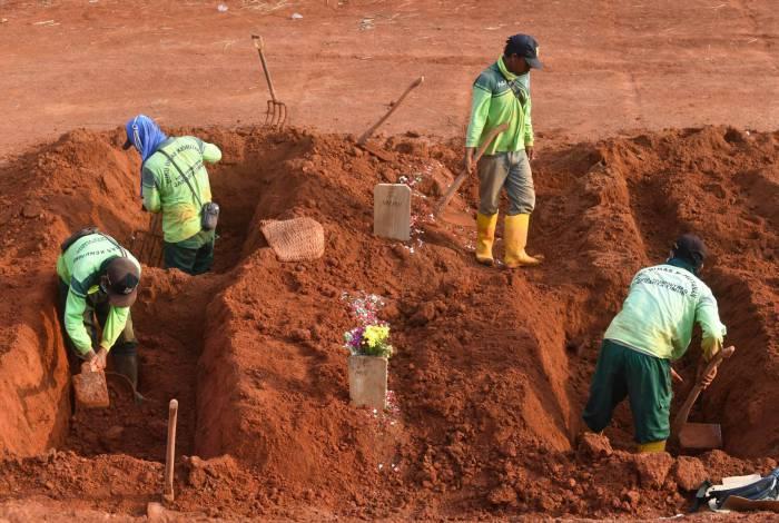 Pessoas são obrigadas a cavar túmulos por desrespeitarem uso de máscara em locais públicos