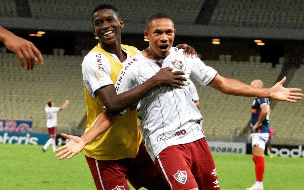 Wellington Silva comemora o gol do Fluminense na Arena Castelão - Mailson Santana/Fluminense