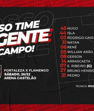 Flamengo escalado para enfrentar o Fortaleza
