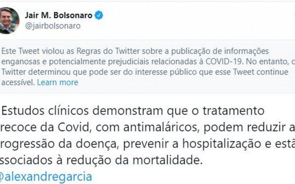 Twitter coloca aviso em post de Bolsonaro após 'violação de regras' - Reprodução