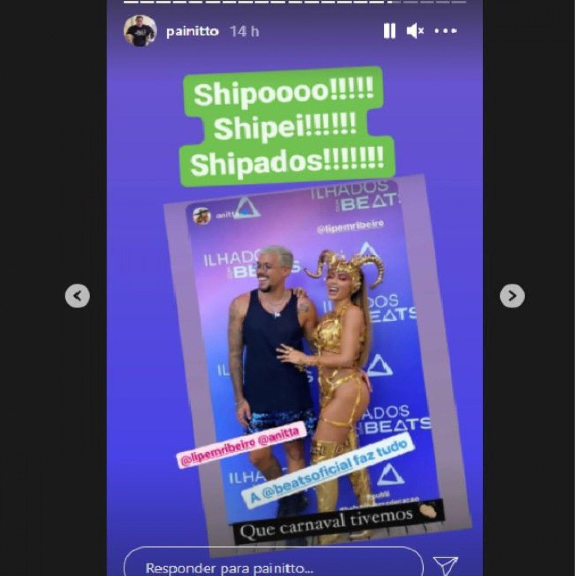 Painitto 'shippa' romance de Anitta com Lipe Ribeiro - Reprodução Internet