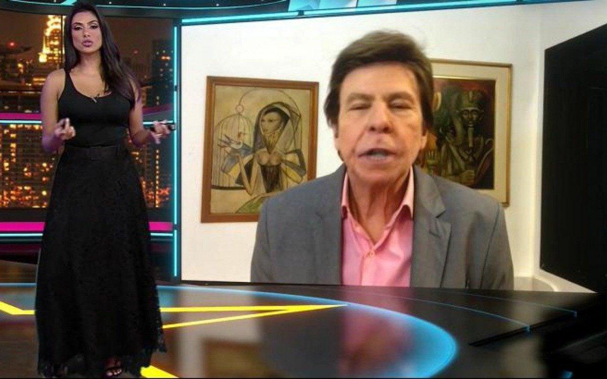 Flávia Noronha e Nelson Rubens protagonizaram discussão ao vivo no TV Fama. - Reprodução/RedeTV